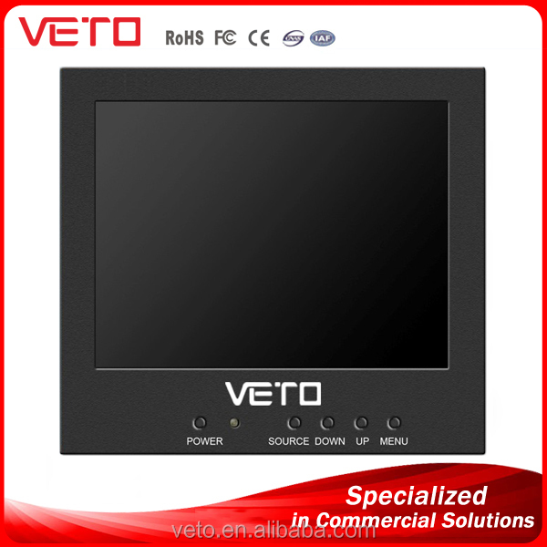 VETO customized 5, 7, 8, 10.4, 15, 17 inch LCD HDMI Monitor with 12v dc input