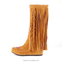 wholesale increased internal ethnic style lady boot tassel winter nubuck leather woman boot