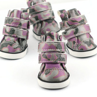 2013 Fashion Small Dog Boots Waterproof Camouflage Twill PU leather Winter Pet boots Purple [PDS-006D]