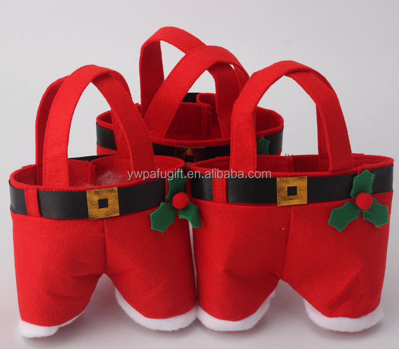 Christmas Candy Bag Santa Pants Gift and Treat Bags with Handle Portable Candy Gift Baskets Gift Wrap for Wedding