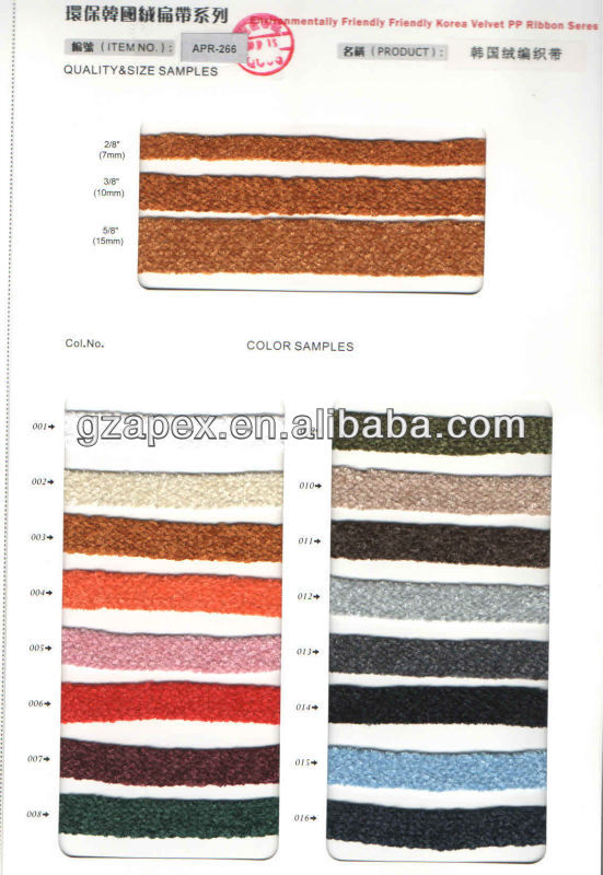Eco friendly Korea velvet ribbons series for garment,toys,bags,handbags,cars-APR-266