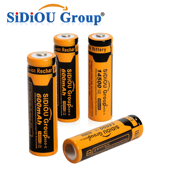 Sidiou Group 3.7V 600mAh Rechargeable Battery Li-ion 14500 Battery(A Set of 4 Pieces)