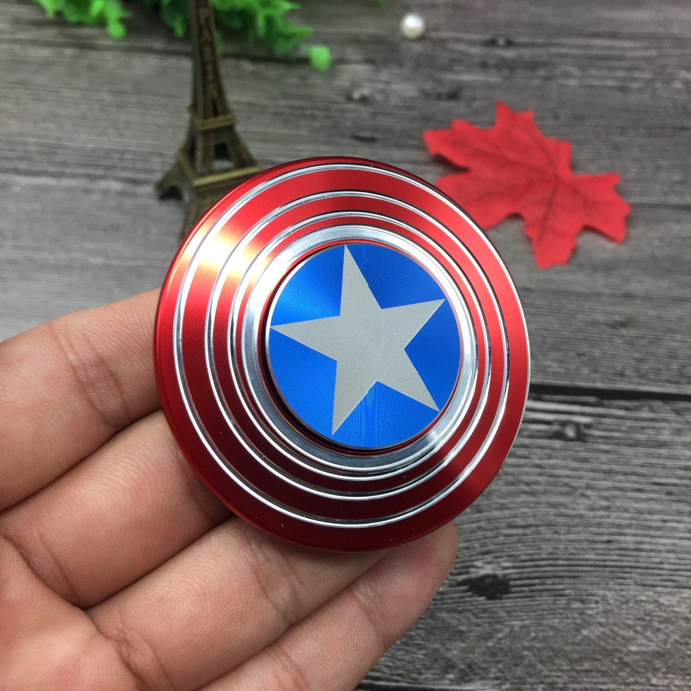 Captain America Stres Hand Spinner Metal Aluminum Alloy Tri Fidget Spinner Anti Stress EDC Toys Gift Spinning Top Kids
