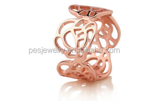 Fashion Womens All Metal Hollow Out Rose Flower Ring(PES5-24)
