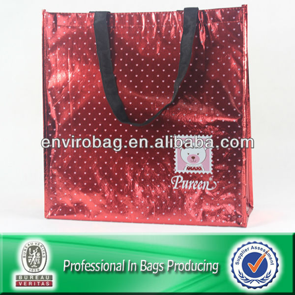 Red Cheap High Quality Metallic Film Lamination PP Nonwoven Girl Shoulder Bag