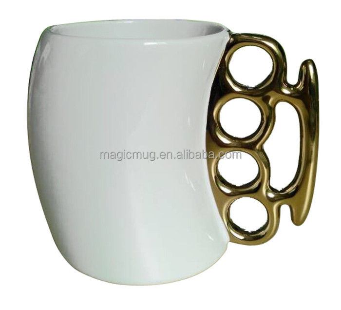 11ounce ceramic gold coffee mug with unique handle