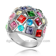 Jewelry 2013 New Design Colorful Austrian Crystal Rings For Women