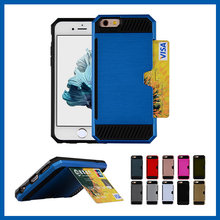 C&T Brush Wallet Credit Card ID Card Slot Holder Heavy duty Armor Hybrid Hard PC+Soft TPU Protective Case Cover for iPhone 6/6s
