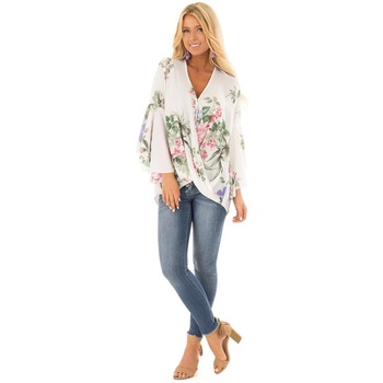 C41 Floral open sleeve loose blouse