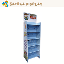 Colorful 6 tiers Template Cardboard Rack stand Advertising supermarket corrugated Display Shelf for drinks