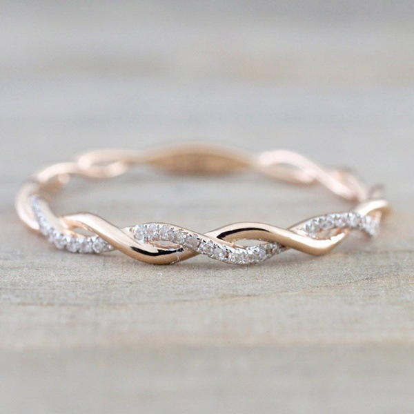 Rose Gold Color Twist Classical Cubic Zirconia Wedding Engagement <strong>Ring</strong> for Woman Girls Crystals Gift <strong>Rings</strong>