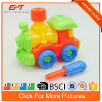 Diy assemble toy enlighten brick puzzle toy train for kids