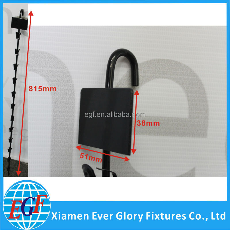 Supermarket Hanging Metal Clip Strip Display Rack with Sign Plate #EGF-SCE-HCS-01