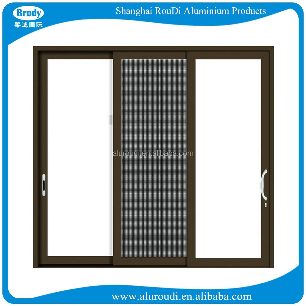 Large Powder Coated Aluminum Glass Sliding Doors Exterior with insect net
