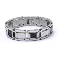316l stainless steel bracelet with carbon fiber