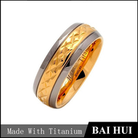 7mm 18K Gold Plated Ring Men's Titanium Band, Custom Titanium Wedding Ring