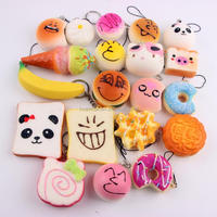 Food Model Squishy Bread Squishy Slow Rising Ball Toy 10pcs/bag with keychain