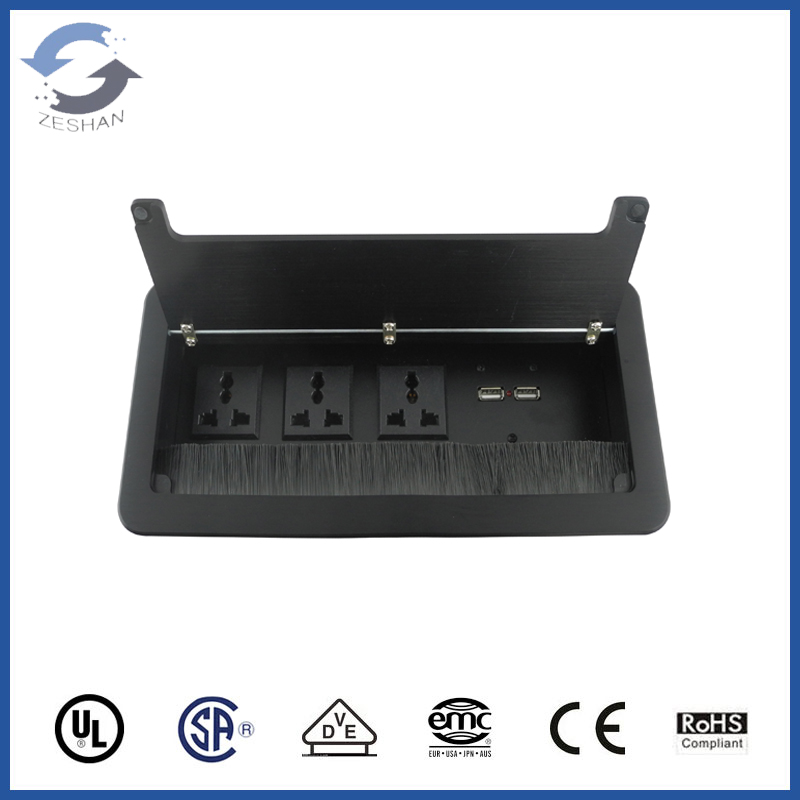 ZSCC06 with dual USB charging Black Brush Cable Cubby
