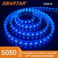 China factory wholesale 5050 60d rgb 12v flexible led strip light waterproof IP67 5M with 300leds 5050 rgb