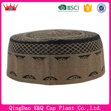 For Sales Fashion Cotton Brown Embroidery muslim hat