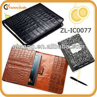 Black Croc-Leather Cover for iPad and Notebook