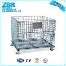 Warehouse steel wire roller cage with hinged lid