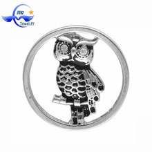 Best Seller Wholesale of Silver Jewelry 22MM Owl Floating Locket Plate For Glass Locket