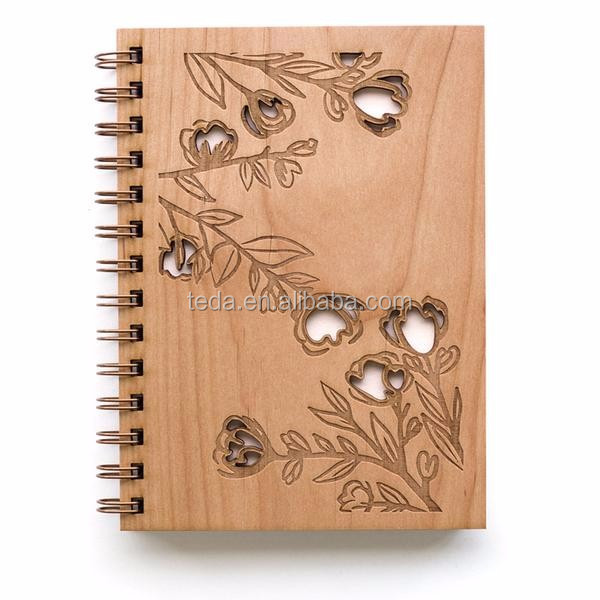 Custom laser cut wood hard cover notebook