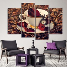 coffee machine printing 4 pieces Picture Coffee Beans Wall Canvas Pictures For Home Decor Decoration