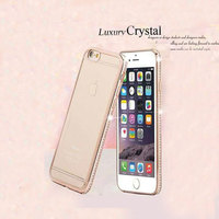 Luxury Crystal Diamond Edged Metal Plating Bumper TPU Soft Back Cover Cell Phone Cases for Iphone and for Samsung