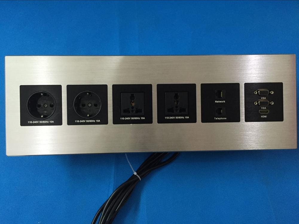 Customize big and long office desktop multimedia aluminum EU power universal power with hdmi vga rj45 socket