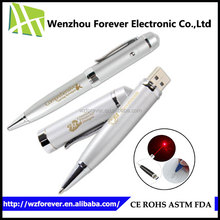 2016 High Quality 3 in 1 Cooper Red Laser Pointer Ballpoint Pen USB Flash Pen Driver 320GB