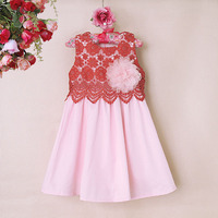 Summer Girl Dress With Floral Decorated Cotton Pink Children Clothes Flower Infant Cotton For Children Wear GD50414-11