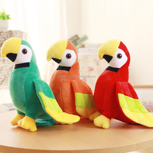Lovely red plush animal toy cuddly parrot bird for kids custom cute plush animal stuffed parrot
