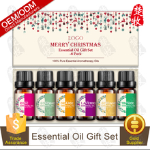 Hot Selling Christmas Pure Essential Oil Gift Set 6pcs/set Rose,Tea Tree ,Bergamot,Orange,Lavender,Cedarwood