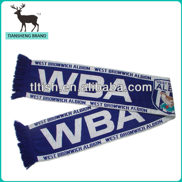 Double layer acrylic jacquard knitted football scarf fans scarf