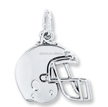 Newest Silver Plated Sports Pendant Safety Football Helmet Charms
