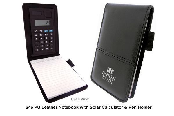 PU Leather Notebook with Solar Calculator & Pen Holder