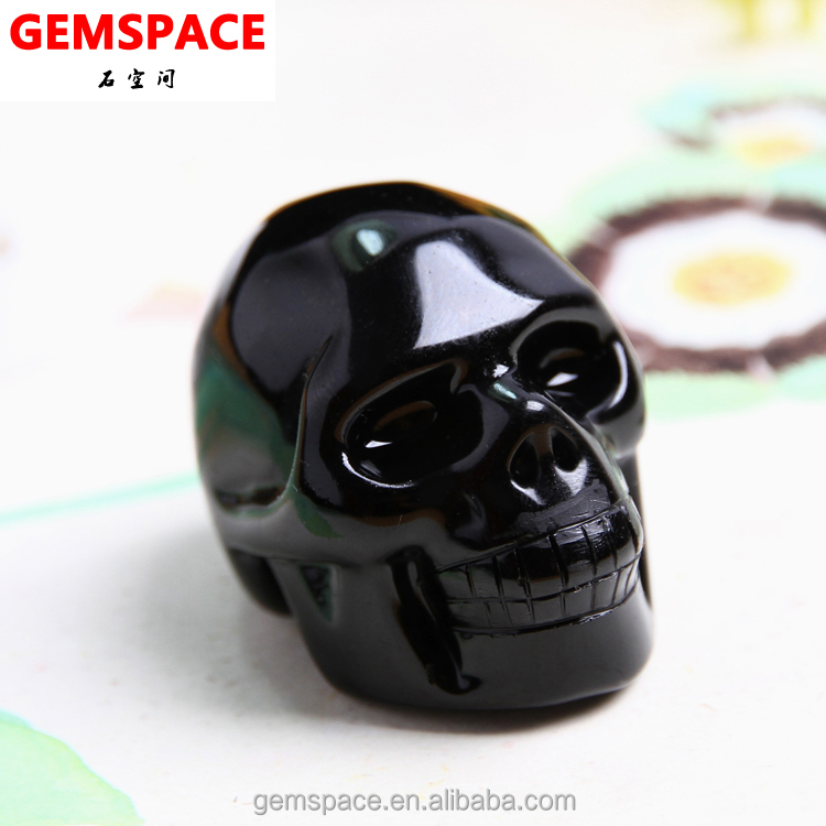 Natural Hand Carved Black Obsidian Skull Wholesale by Factory
