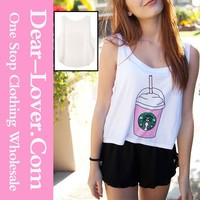 Cheap Stylish Starbucks Coffee Printed Plain crop tops wholesale