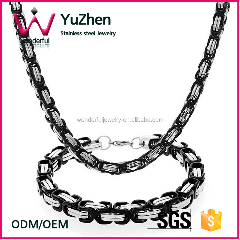 Alibaba.com Wonderful Stainless Steel jewelry sets Mens Two Tone Box Chain Bracelet Necklace Set