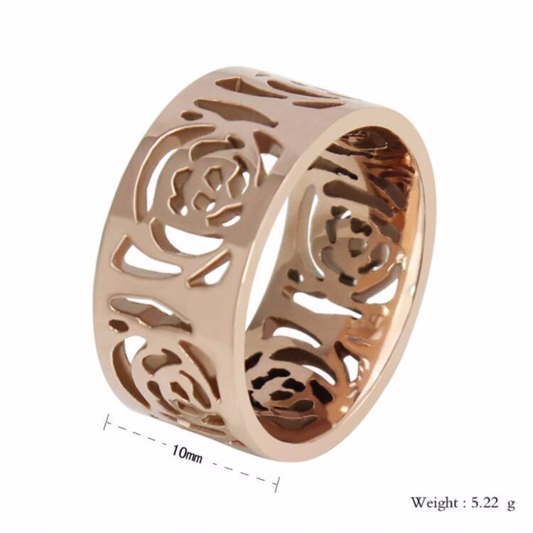 New Arrival 316 Stainless Steel Rose Gold Hollow wedding Rings
