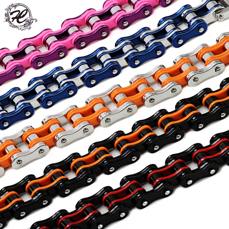 Factory Price16mm New Fasion316l Stainless Steel Men's Bycicle Bike Chain Bracelet Motorcycle Man Jewelry