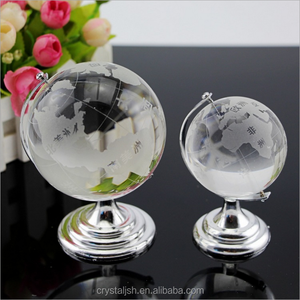 World Map Earth Round Globe Crystal Glass Clear Paperweight Stand Desk Decor