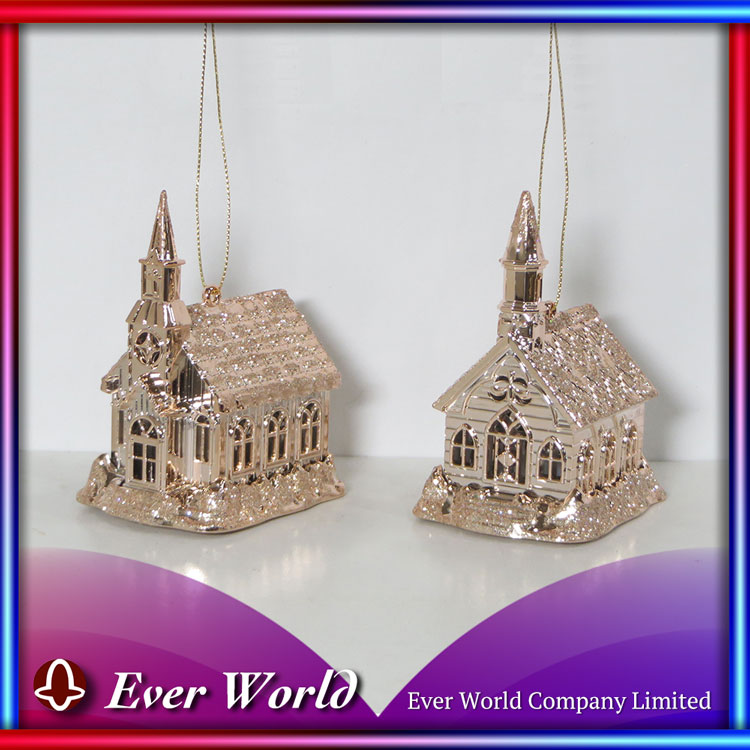 Christmas Plastic Shiny Rose Gold & Samd Gold Glitter Small Church Ornament