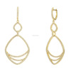 Unique women big hoop rounds shaped gold plating geometry earrings