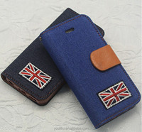 2014 cool jean pu leather phone case for samsung S4, wallet bag phone case with cowboy pu leather case cover for samsung
