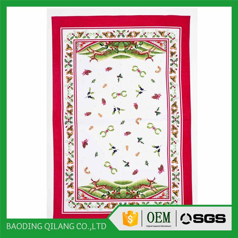 100% cotton Christmas tea Christmas kitchen waffle towel with embroidery