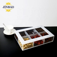 JINBAO Wholesale custom rectangular clear plastic plexiglass creative candy nut bulk food box acrylic display box with divider