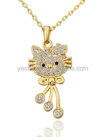 cute gold plated hello kitty cat pendant necklace for gift